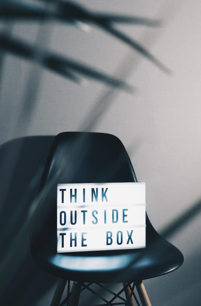 lightbox message reading think outside the box